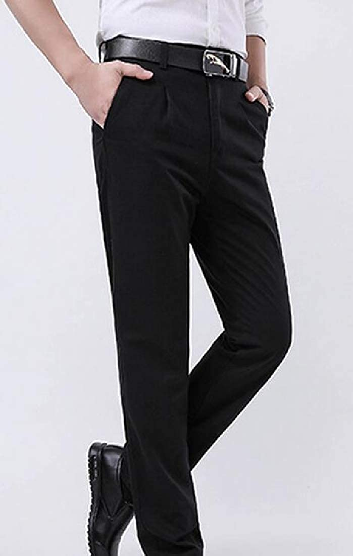 Joe Wenko Mens Straight Fit Breathable High Waist Work Business Casual Pants