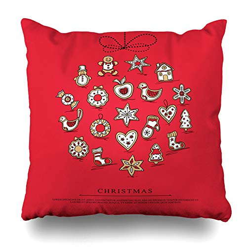Ahawoso Throw Pillow Cover Sock Beige Apple Christmas Ball Gingerbreads Holidays Gingerbread Red Bird Bow Cabin Candy Home Decor Zippered Pillowcase Square Size 18 x 18 Inches Cushion - Cottage Bird Gingerbread House