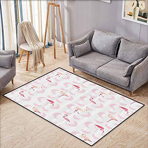 Indoor/Outdoor Rug,Flamingo Decor Collection,Flamingos Walking Eating Standing Pattern with Flying Feathers Illustration Art,Large Area mat,5'6