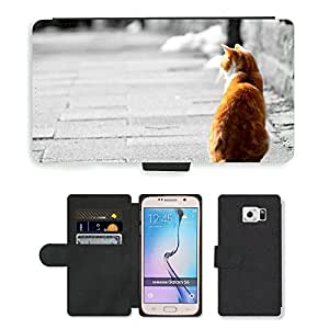CARD POCKET BOOK CASE PU LEATHER CASE // M00104614 Antecedentes animal adorable Hermosa // Samsung Galaxy S6 (Not Fits S6 EDGE)