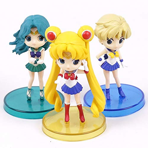 Allegro Huyer Sailor Moon Tsukino Usagi Sailor Neptune KaiOu Michiru Sailor Uranus Tenoh Haruka PVC Figures Toys 3pcs/Set 8cm