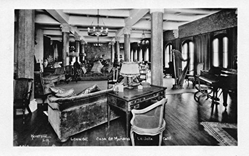 Real Photo Postcard Lounge at Casa De Mañana in La Jolla, - Stores In La Jolla