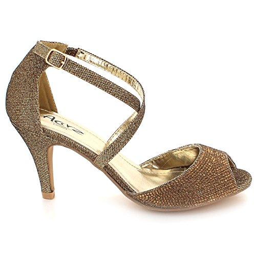 Brillant mariée Soir Dames des Bal Haut Mariage Marron Taille Femmes Diamante Chaussures Sandales De Fête Talon Cristal de 58Idwfxq
