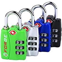 New Forge TSA Luggage Lock 4 Pack 4 Colors - Open Alert Indicator, Alloy Body, Easy Read Dials …