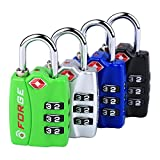 Forge TSA travel luggage Locks 4 Pack Open Alert Indicator,Zinc Alloy Body, Easy Read Dials, black, blue,green,silver
