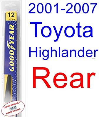 Amazon.com: 2001-2007 Toyota Highlander Wiper Blade (Rear) (Goodyear Wiper Blades-Premium) (2002,2003,2004,2005,2006): Automotive