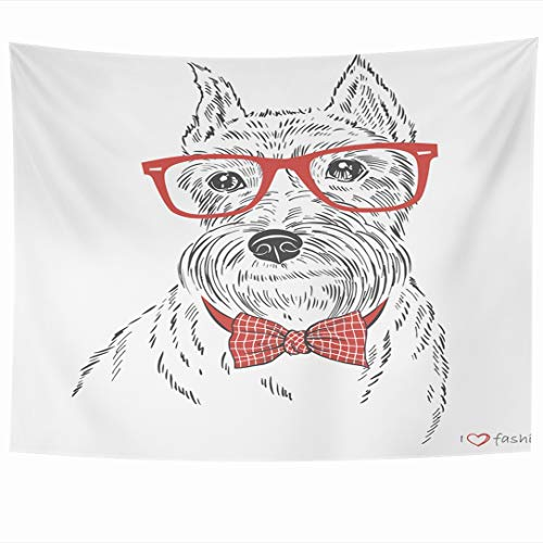 Ahawoso Tapestry 60x50 Inch Doggy Red Bow Schnauzer Dog Boy Tie Face Drawing Line Sketchy Character Tapestries Wall Hanging Home Decor for Living Room Bedroom Dorm