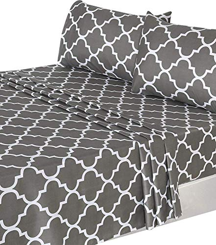 - Utopia Bedding 4 Piece Bed Sheet Set (Full, Grey) 1 Flat Sheet, 1 Fitted Sheet, and 2 Pillow Cases