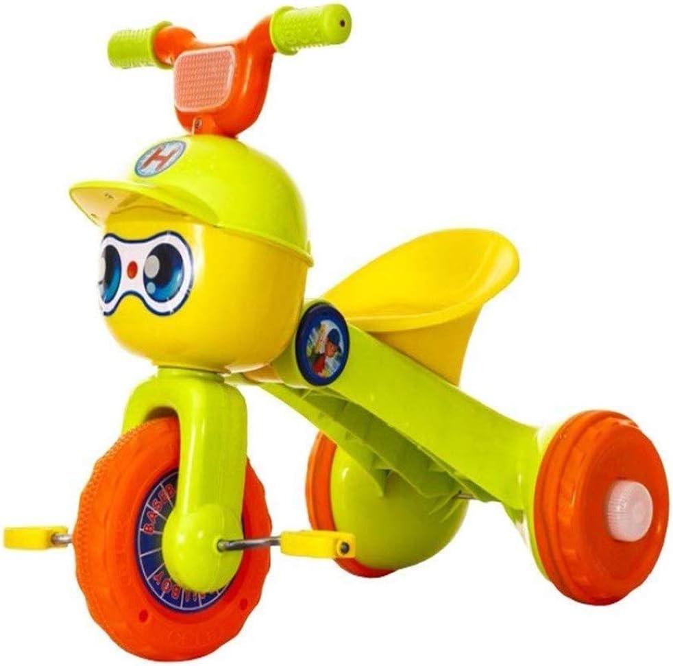 AJH Triciclo Plegable niños Bicicleta de la luz Triciclo Correa de Transporte Musical Cochecito excursión portátil y Seguridad de la Carretilla Chico y Chica Presente,Amarillo