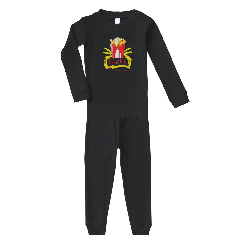 Small Bag of French Fries Small Fry Cotton Long Sleeve Crewneck Unisex Infant Sleepwear Pajama 2 Pcs Set Top and Pant - Black, 24 Months