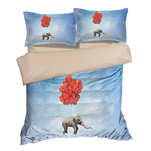 Nostalgic Flying Hot Balloon Elephant Cotton Microfiber 3pc 80''x90'' Bedding Quilt Duvet Cover Sets 2 Pillow Cases Full Size by DIY Duvetcover