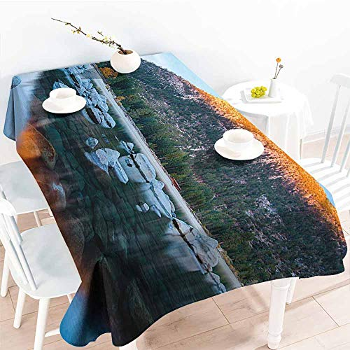 Onefzc Outdoor Tablecloth Rectangular,Lake Tahoe Rocks in a Lake Photo North American Landscape Sierra Nevada California USA,Party Decorations Table Cover Cloth,W60x84L Multicolor
