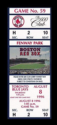 (1996 Boston Red Sox v Toronto Blue Jays Full Ticket 8/8/96 27663)