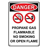 Weatherproof Plastic Vertical OSHA Danger Propane Gas Flammable No Smoking Or Open Flame Sign with English Text and Symbol
