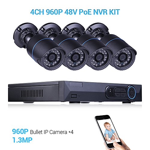 4CH 960P HD Security Camera Recorder CCTV NVR with 1.3MP Video Surveillance System IP66 Weatherproof Outdoor/Indoor IP Monitor POE Night Vision Devices by Masione