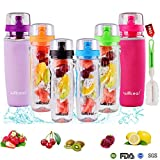Fruit Infuser Water Bottle 32oz Willceal- Durable, Large - BPA Free Tritan, Flip Lid, Leak Proof Design - Sports, Camping (Purple)