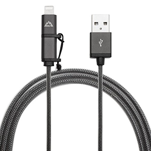 Core Third Dual Lightning / Micro USB Sync & Charge Cable - 3.3Ft - Space Gray - Heavy Duty-Braided Extra-Strong Jacket - Certified Apple & Android - Lifetime Warranty (Lightning Lifetime Warranty compare prices)