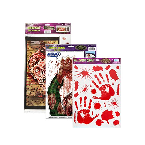 [Beistle Microwave Door Decoration with Zombie Car Cling Sheet and Bloody Handprint Clings] (Halloween Decor Ideas 2016)