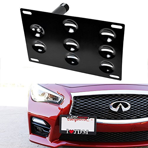 iJDMTOY JDM Style Front Bumper Tow Hole Adapter License Plate Mounting Bracket For 2008-2015 Infiniti G35 G37 Q60, 2014-up Infiniti Q50, 2007-2018 Nissan GT-R & 2013-2018 Nissan 370Z