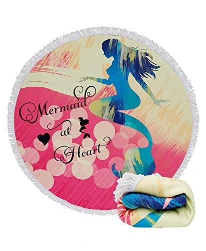 Genovega  Thick Round Beach Towel Blanket - Mermaid Microfib