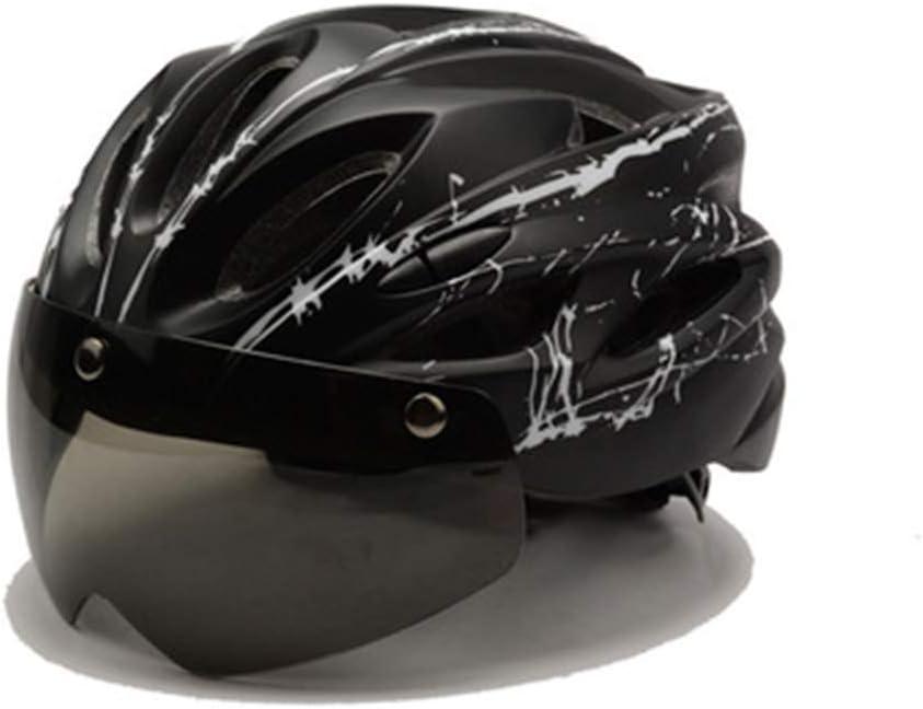YXZN Bicicleta Casco Mountain Bike Integrado Moldeado Cascos Al Aire Libre Montar Equipo Magnético con Gafas