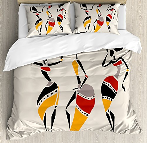 Ambesonne African Duvet Cover Set Queen Size, Dancers Silhouette Set Native Dresses Party Carnival Tradition, Decorative 3 Piece Bedding Set with 2 Pillow Shams, Dark -