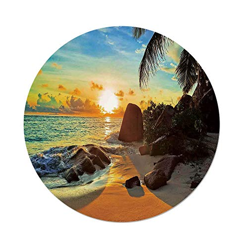 iPrint Polyester Round Tablecloth,Coastal Decor,Colors of Sunset Sun Rays Palm Trees Stones Shadows Shades Waterscape Picture,Dining Room Kitchen Picnic Table Cloth Cover,for Outdoor Indoor