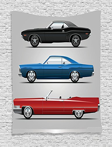 Cars Collection Set of Old-Fashion Cars in Different Colors Seventies Icon Effects Usa Theme Design Art Red Blue Black Supersoft Throw Fleece Blanket (70s Fashion Australia)