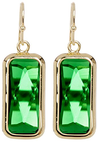 Emerald Quartz Rectangle Gold Clad Wholesale Gemstone Fashion Jewelry Drop Earrings