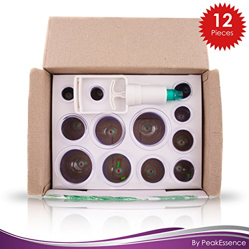Premium Cupping Therapy Set-12 Pieces, Chinese Professional Back Pain Relief Products, Back Massager, Helps Relieve Toxins