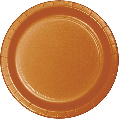 Creative Converting 323393 Touch of Color 24-Count Paper Banquet Plates, Pumpkin Spice, 10.25