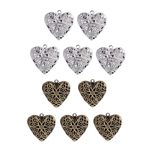 Keychain Metal Heart Locket - 10x Hollow Aromatherapy Essential Oil Diffuser Perfume Locket Pendant Charm Necklace Jewelry Crafting Key Chain Bracelet Pendants Accessories Best