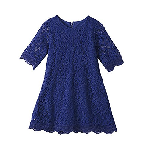 APRIL GIRL Flower Girl Dress, Lace Dress 3/4 Sleeve Dress (12 Years, Blue)]()