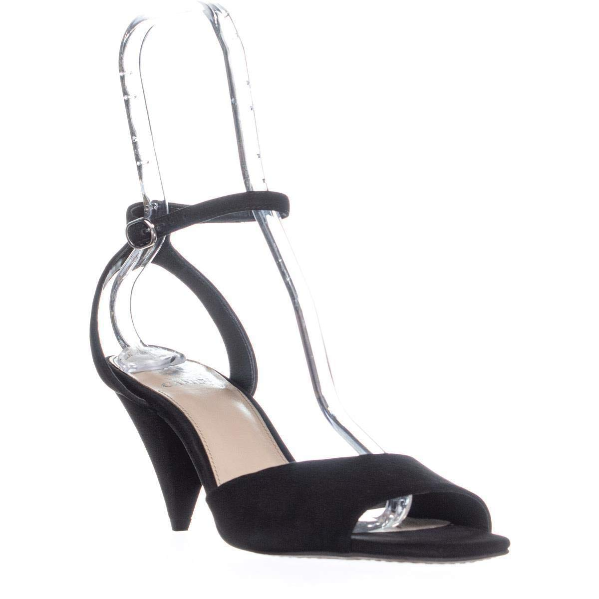 Black Nubuck Vince Camuto Womens Benatta Nubuck Ankle Strap Dress Sandals