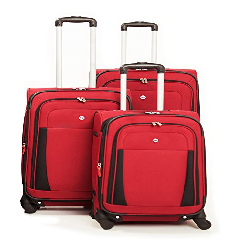 Voyager 3 Piece Luggage Set - Voyager Merchandising Bags West Lake 3-piece Expandable Spinner Upright Luggage Set Red