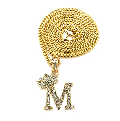 Fashion 21 Unisex Small Size Pave Crown Tilted Initial Alphabet Letter Pendant 3mm 20