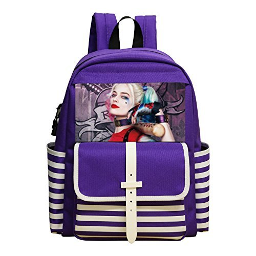JIAYOU Harley Quinn Suicide Squad Logo Backpacks Daypack Shoulder Bag School Rucksack