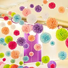 SANNIX 10 PCs Multi-Colors Tissue Hanging Paper Pom-poms,Paper Flower Ball DIY Decoration for Wedding, Birthday, Bachelorette, Indoor, Outdoor Coral 10cm