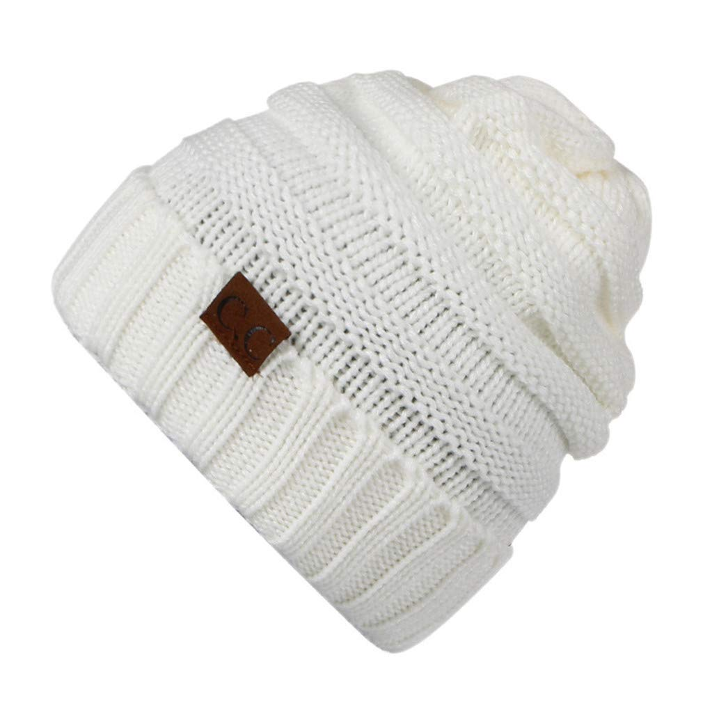 2cdbd775af4 Amazon.com  KCJDKW UEN Hat Women s Winter Caps Knitted Hat Stretchy Beanies  for Ladies Soft Crochet Hat Female Warm Thick Bonnet Beige  Sports    Outdoors