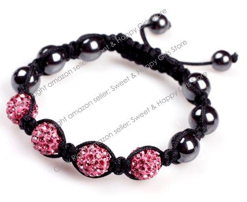 4 Beads Women Girl Dark Pink Pave Shine Crystal Ball Hand-Woven Bracelet Adjustable