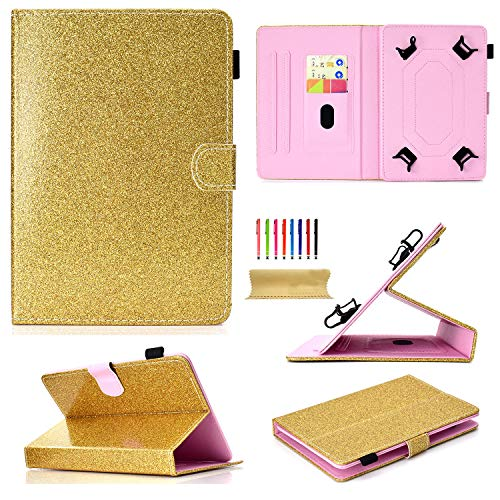(Uliking Universal 9.5-10.5 inch Andriod iOS Tablets Case, Bling Glitter Folio Stand Cover for 9.6