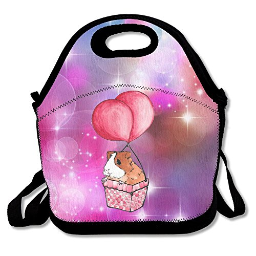Balloon Guinea Pig Lunch Tote Bag Travel School Picnic Lunch Bag With Zipper For Men, Women, Kids.