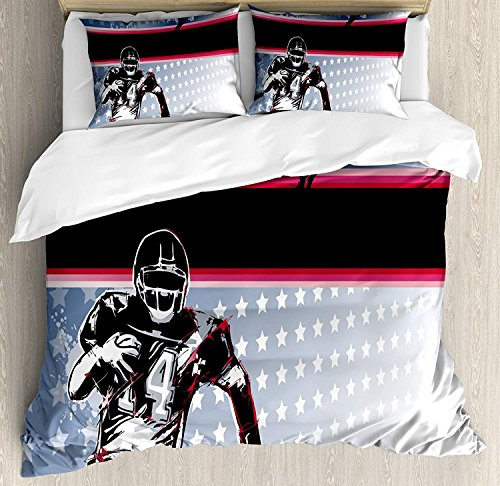 (CHASOEA Americana Decor Queen Bedding Comforter Sets All-Season 4pc Duvet Cover Set Quilt Bedspread for Adult/Kids/Teens, Baseball American Football Player Running in The Field with Stars Pattern)