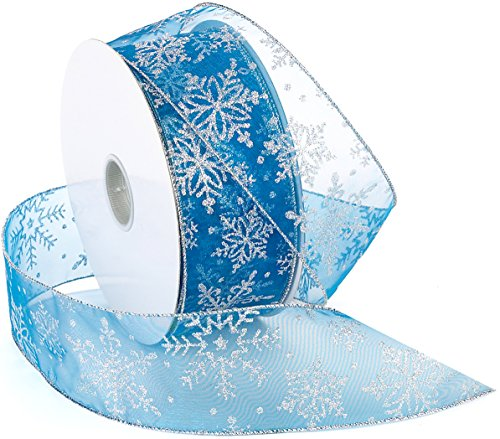Morex Ribbon Snowflake Wired Sheer Glitter Ribbon, 2-1/2-Inch by 50-Yard Spool, Turquoise