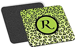 """Rikki Knight Letter """"R"""" Initial Lime Green Leopard Print Monogrammed Design-Soft Square Beer Coasters (Set of 2), Multicolor"""