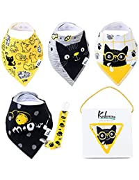 Bandana Bibs for Boys and Girls | 100% Cotton Absorbent...