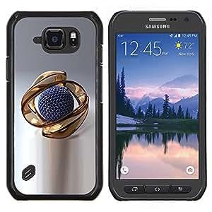 Caucho caso de Shell duro de la cubierta de accesorios de protección BY RAYDREAMMM - Samsung Galaxy S6Active Active G890A - El extracto del oro