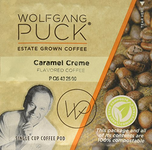 Wolfgang Puck Coffee, Caramel Cream Gram Coffee, 9.5 Gram Pods, 18 Count