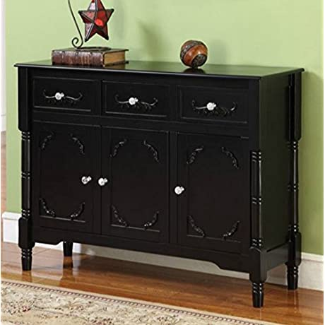 Wood Console Table With Storage This Accent Furniture Has 2 Cabinets And 3 Drawers W Adjustable Shelves Perfect Decor Than Can Be Placed In Your Dining Or Living Room 1 Year Warranty Black