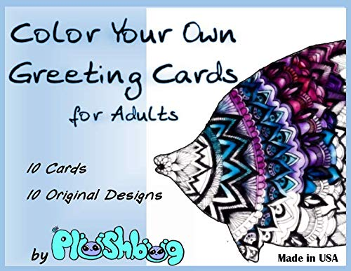 Adult Greeting Card - Color Your Own Greeting Cards for Adults - 10 Unique Designs/Cards with Envelopes - All Occasion Blank inside - 4.25 x 5.5 inch